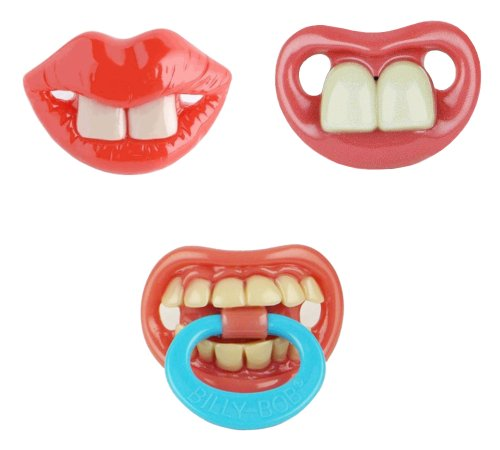 Billy Bob Baby Pacifier, 3 Pack (Two Front Teeth Broadway, Two Front Teeth & Thumb Sucker Pacifier)
