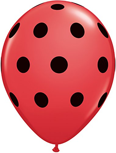 (Pioneer Balloon Company 37221 037221 Big Polka Dots - Red W/Black Ink)