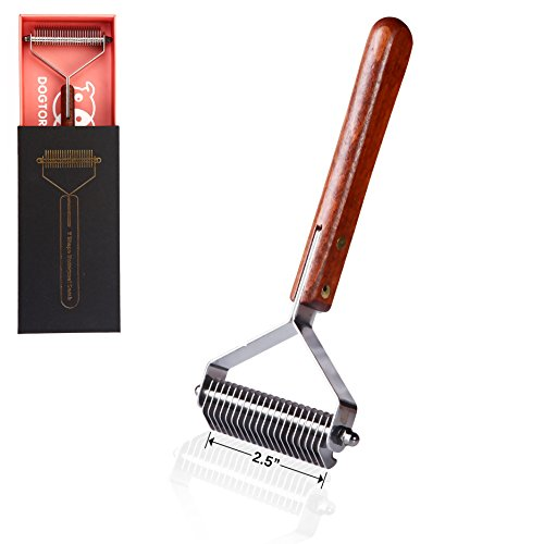 Dogtorkitty Pet Undercoat Rake: Wide Dematting Brush for Shedding Hair, Stainless Steel Fur Stripping Comb, Suitable for Golden Retriever, Samoyed (20Blade)