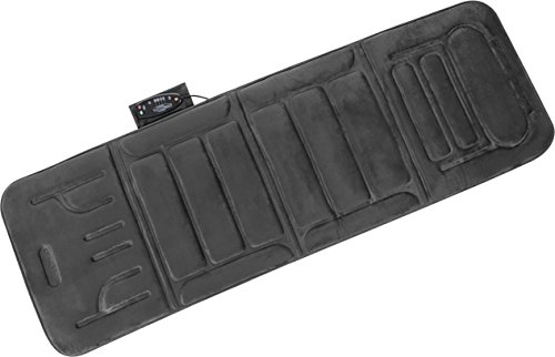 5 Motor Massaging Mat - Relaxzen 10-Motor Massage Plush Mat with Heat and Extra Foam, Gray