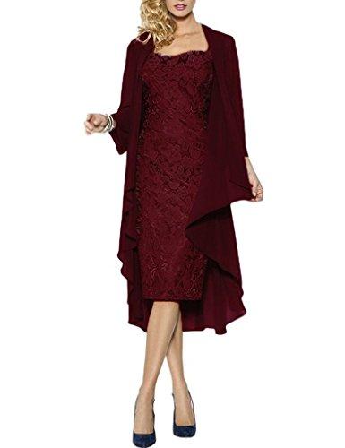 Wraps Kleider mit Chiffon formale Burgund Kurze HWAN Mutter Jacke der Kleider Spitze Braut qxaI8UzPw
