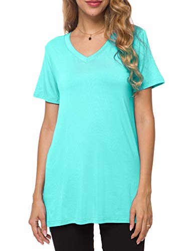 Herou Womens Loose Casual Short Sleeve Tunic Tops T-Shirt for Summer V-Light Blue XX-Large
