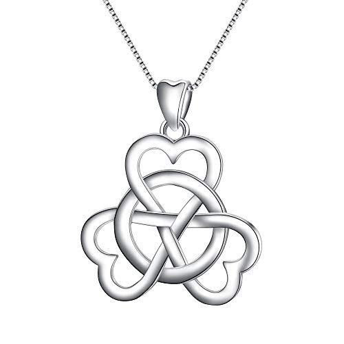 (EVER FAITH Women's 925 Sterling Silver Good Luck 3 Love Heart Celtic Knot Simple Pendant Necklace)