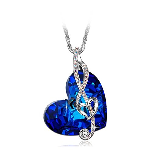 Diamond Cut Out Heart Necklace - Brilla Gifts for Women Heart of The Ocean Necklace Fashion Jewelry Waltz of Love for Mother's Day Blue Swarovski Elements Crystal
