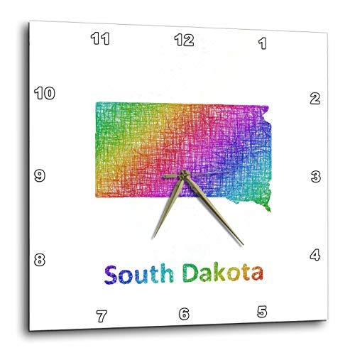 3dRose David Zydd - Map Designs - South Dakota State Map - rainbow sketch design - 15x15 Wall Clock (dpp_287283_3)