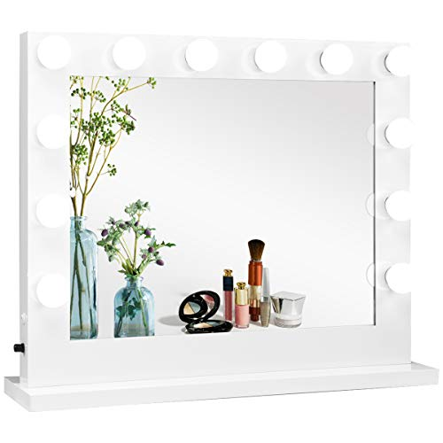 Tangkula Vanity Mirror with Lights, Hollywood Lighted Makeup Mirror with Detachable Base, Wall Mounted Lighted Mirror with 14 Dimmable LED Bulbs for Dressing Room or Bedroom, White