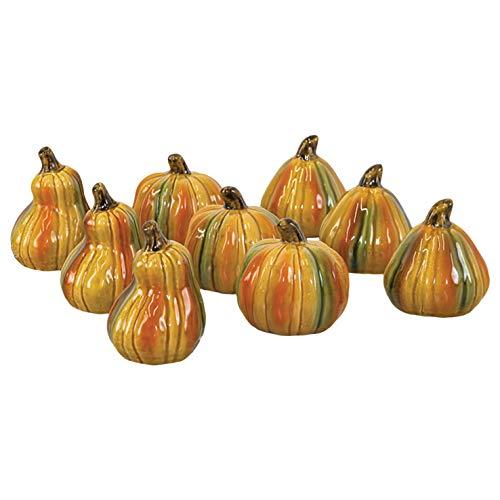 Hanna's Handiworks Squash and Pumpkins 3.5 x 2.5 Inch Glossy Ceramic Harvest Tabletop Decorative Figurines, Set of ()