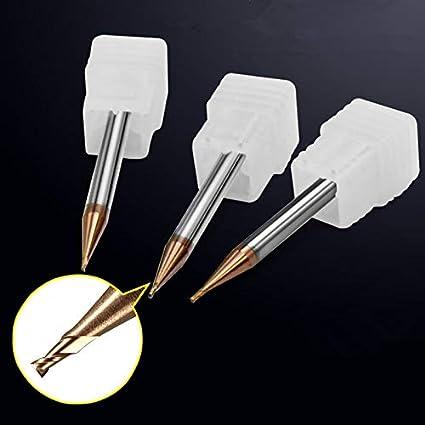 L-Yune-mills 1 unids//Set HRC55 CNC End Mill Extendido Alcance TiCN Recubierto Solid Carbide End Mill 0.2//0.4//0.5//0.6//0.8//0.9mm 2 Flauta Cutting Edge Diameter : 0.2x4x50mm 2F