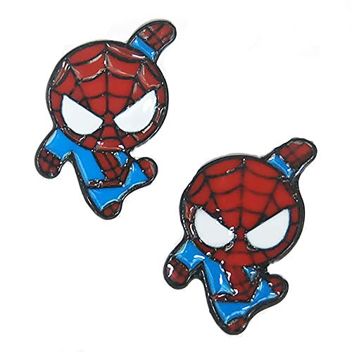 Lovely Cartoon Spider Man with Charm Section Web Stud Earring Necklace Cool Enamel Jewelry for Women Girls (Earring) -