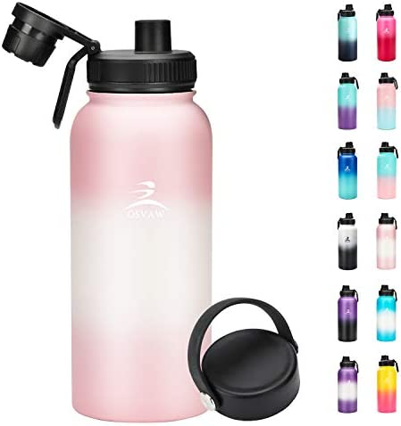 OSVAW Sports Insulated Water Bottle with Spout Lid and Handle Lid, Stainless Steel Double Wall Vacuum Insulated, Sweat Proof Design Keeps Liquids Hot or Cold (32oz, crimson white crimson gradient)