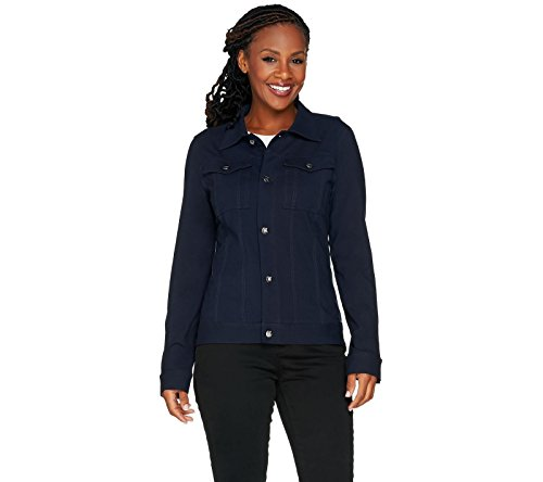Women with Control Knit Denim Style Long Slv Jacket Pockets Navy XL New (Slv Pocket)