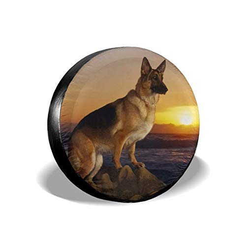 Spare Tire Cover Full Color German Sheppard Dog Pearched On Rocks Overlooking The Water Sunset PVC Leather Waterproof Dust-Proof Wheel Covers For Jeep Liberty Wrangler SUV (14,15,16,17 In)Tire Cover