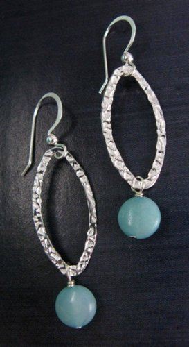 Sosie Sterling Silver Earring Hammer Leaf with Amazonite Gemstone