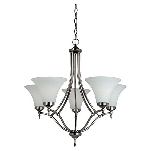 Montreal 5 Light Chandeliers (Five Light Chandelier in Antique Brushed Nickel Finish with Satin Etched Glass P)