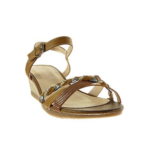 Angkorly - Chaussure Mode Sandale Mule femme lanière tréssé brillant Talon compensé 5 CM - Camel