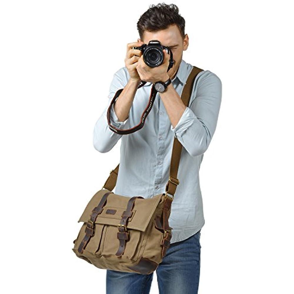 fa3fafc83034 Kattee Leather Canvas Camera Bag Vintage DSLR SLR Messenger Shoulder Bag  Army Green Clothing