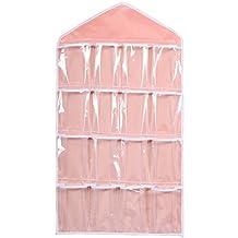 16 Pocket Over Door Hanging Bag Shoe Toy Hanger Storage Tidy Jewellery Organizer Colors:Pink