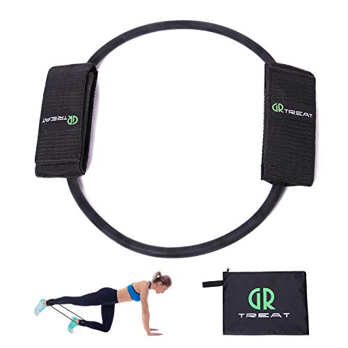 GUARD & REVIVAL TREAT GR Leg Resistance Band - Exercise Band with Padded Ankle Cuffs - Resistance Band for Leg and Butt Workouts, Muscle Tone, Mobility and Strength (Black-30LB)