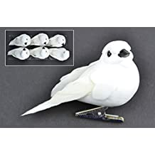 Set of 6 Artificial White Dove Birds with Clip for Home and Event Decoration, Floral Arrangements, Wreaths and Arts & Crafts