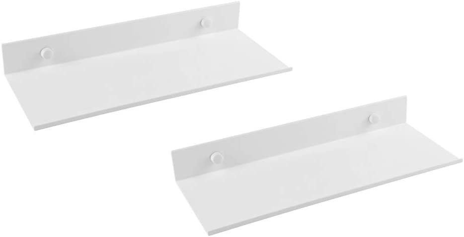 Z metnal Small Floating Shelves, Mini Display Wall Shelf for Nintendo Switch Smart Speaker Collection, Aluminum, Wall Mounted, White,12 x 5 inch, 2 Pack