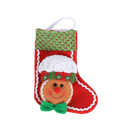 Sunshinehomely Classic Christmas Stockings, Gingerbread Man Christmas Ornaments Socks Chrismas Tree Pendant Decorations Snowman Stockings -