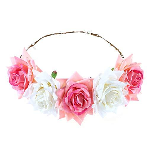 DAGE Women Rose Flower Bride Girl Wreath Headband Floral Crown Garland Hair bands Lady Hair Garland
