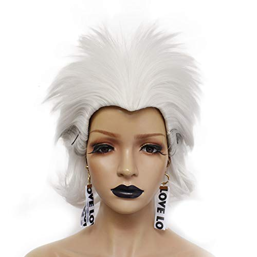 Anogol Hair Cap + Women Short White Wig Synthetic for Anime Costume Witch Halloween Cosplay Hair]()