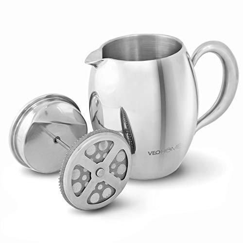 VeoHome – Cafetera de émbolo – Indestructible y mantiene el café caliente por mucho tiempo gracias a su cubierta doble…