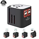 Zoeson International Travel Adapter, Worldwide Travel Charger with 4 USB Ports Power Converters for EU,UK,US,AU,Europe & Asia,All-in-one Universal Wall Plug Multi-Outlets Electrical Adaptor