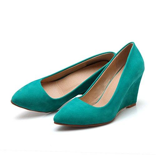 BalaMasa Girls fondo in gomma high-heels imitato in pelle pumps-shoes, Verde (Green), 35