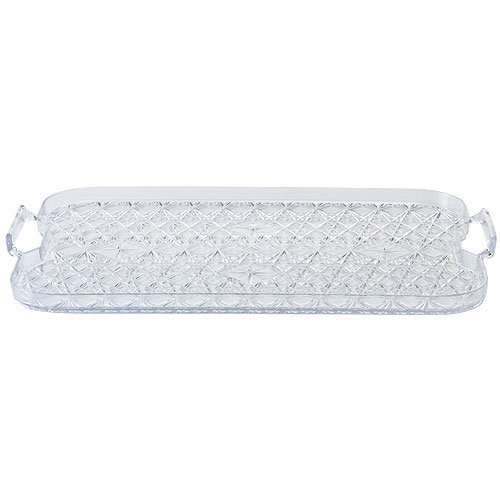 Crystal Cut Party Plastic (Party Dimensions 1 Count Crystal Cut Plastic Tray with Handles, 18 by 13-Inch, Clear)