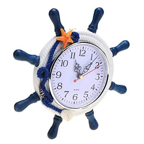 lightclub Modern Mediterranean Style Ship Wheel Wall Art Hanging Clock Home Decor Gift Blue ()