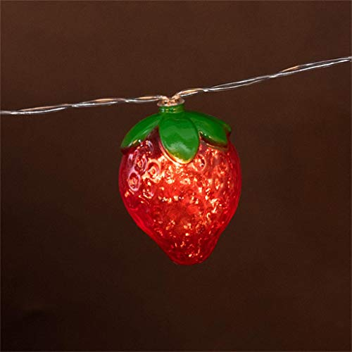 SUJING Red Strawberry Fruit Light String Children's Room Decoration Lamp 10LED Decoration Christmas, Wedding, Party, Home, Patio Lawn (Red)]()