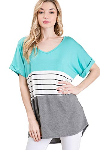 Lace Aqua Shirt - Auliné Collection Womens Oversized Color Block Short Sleeve Knit Top Shirt Tunic - Aqua Mint XL