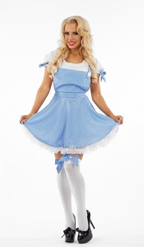 Wizard Of Oz Dorothy Costume Uk (Dorothy Wizard of Oz Female Fancy Dress Costume - Small (UK 8-10) by Parties Unwrapped)