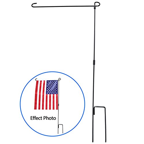 Garden Flag Stand, HOOSUN Premium Garden Flag Pole Holder Metal Wrought Iron Powder-Coated Weather-Proof Paint 36.5