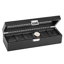 SWEETV Watch Box for Men - 6 Slot Carbon Fiber Watch Display Case Storage Organizer, Large Holder, Glass Top, Black