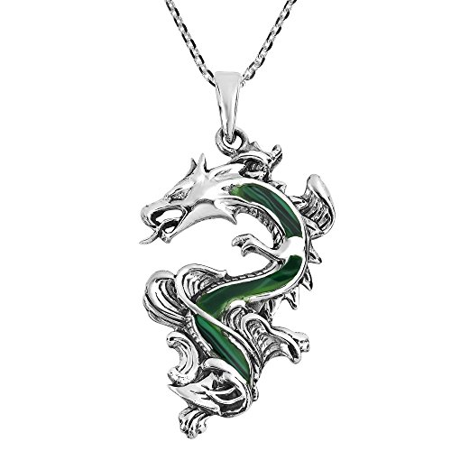 AeraVida Legendary Chinese Dragon Malachite Inlaid .925 Sterling Silver Pendant Necklace ()