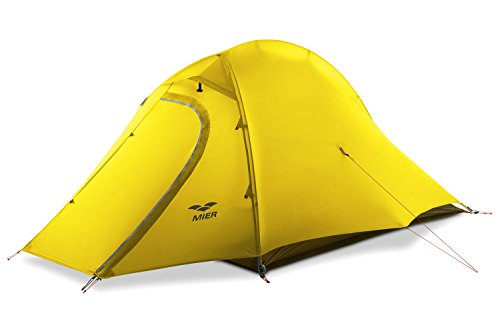 MIER 2 Person Camping Tent with Footprint Waterproof Backpacking Tent, Lightweight & Quick Setup, Yellow, 3 Season