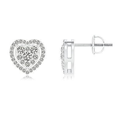 Angara Scattered Cluster Diamond Heart Halo Stud Earrings tMgrZMH6P