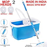 Hugo Bucket Magic Spin Double Drive Hand Pressure Microfiber Mop(Blue)