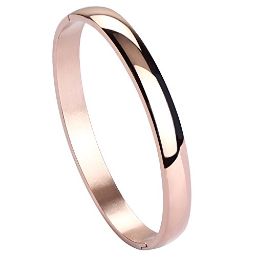 Jusnova Womens Mens Stainless Steel Brecelet Plain Polished Finish Cuff Bangle 7.3 Inches Rose Gold Color