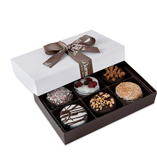 Barnett's Chocolate Cookies Favors Gift Box Sampler, Gourmet Christmas Holiday Corporate Food Gifts, Mothers & Fathers Day, Thanksgiving, Birthday or Get Well Care Package Idea, 6 Unique - Chip Biscotti Chocolate