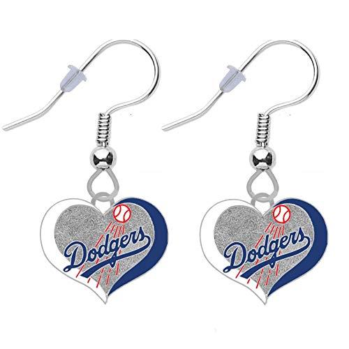 Final Touch Gifts Los Angeles Dodgers Swirl Heart Earrings Pierced