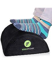 ErgoFoam Ergonomic Foot Rest Under Desk - Premium Velvet Soft Foam Footrest for Desk - Most Comfortable Desk Foot Rest in The World for Lumbar, Back, Knee Pain - Foot Stool Rocker