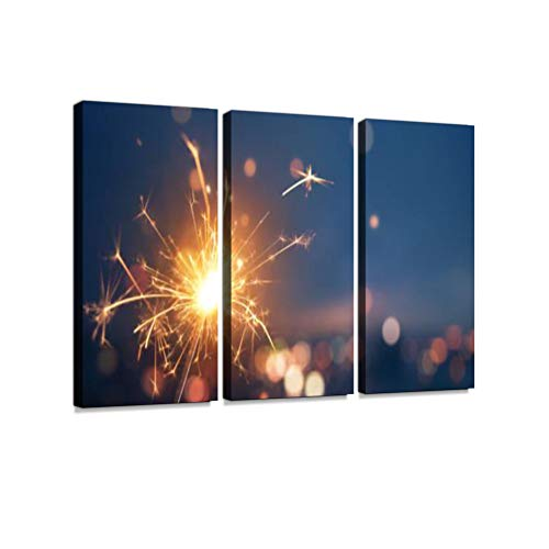 Sparkler with Blurred Busy City Light Background 3 Pieces Print On Canvas Wall Artwork Modern Photography Home Decor Unique Pattern Stretched and Framed 3 -