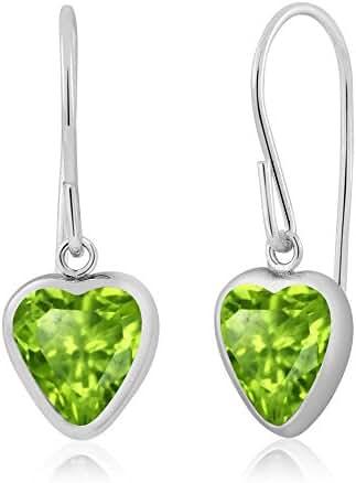 1.66 Ct Heart Shape Green Peridot 925 Sterling Silver Dangle Women's Earrings