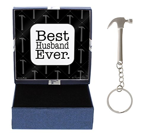 from Wife Best Husband Ever Gift Husband First Father's Day Hammer Keychain & Gift Box Bundle (Best Anniversary Gift Ever)