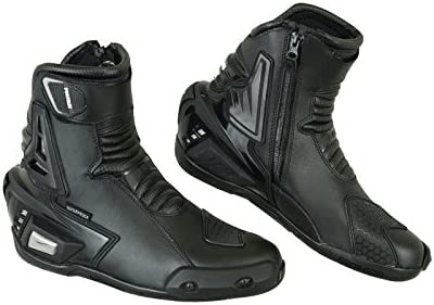 Motorcycle Armoured Leather Boot Touring Racing Sports Shoes for All Weather with Anti Skid Rubber Sole UK 7 // EU 41 Motorbike Boots Mens Full Black