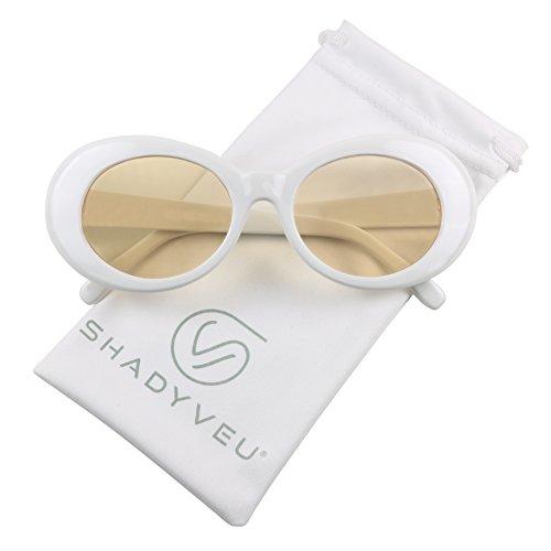 ShadyVEU - Elite Retro Pop Colorful Lens White Clout Goggles Oval Mod Sunglasses (Yellow Lens, - Kim Kardashian Sunglasses New